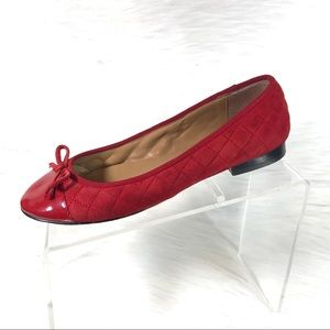 Talbots Ballet Flats Red Quilted Size 8.5 M
